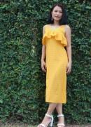 Đầm maxi hai dây bèo ngực chấm bi vàng nữ