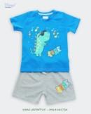 Đồ bộ bé trai in khủng long xanh dương xám Vingo - 20B2