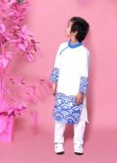 Áo dài bé trai biển xanh