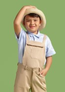 Áo sơmi bé trai tay ngắn túi viền xanh biển