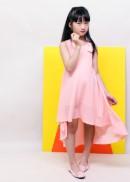 Đầm maxi mullet hồng bé gái