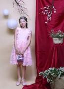Đầm tiệc bé gái ren hoa hồng
