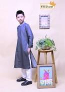 Áo dài bé trai denim chấm