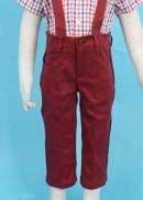 Quần yếm dài túi lệch đỏ đô bé trai