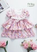 Váy bèo hồng cam pastel Oli River -  S874