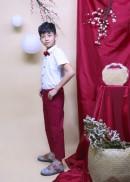 Quần dài yếm bé trai đỏ