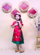 Bộ áo dài giai điệu mùa xuân váy xanh rêu