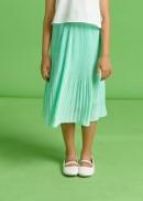 Chân váy dập li tằm xanh ngọc bé gái