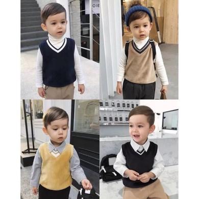 Gile len cho bé trai, chart móc áo gile, vest bé trai nam, áo vest 2 tuổi