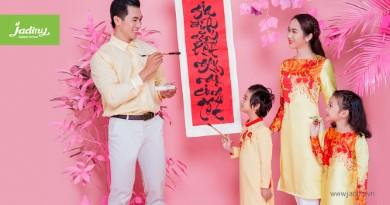 Áo dài cách tân thiết kế cho mẹ và bé đón tết