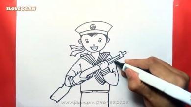 Tranh tô màu chú bộ đội hải quân cho bé
