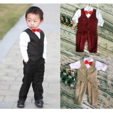 Bộ ghi lê cho bé, áo vest dạ bé trai, áo khoác ghi lê, cách móc áo len ghi lê