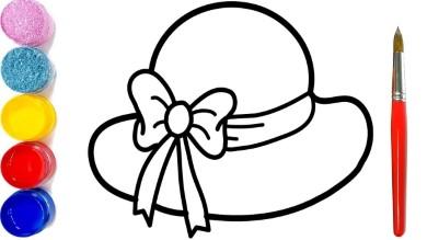 Tranh tô màu cái mũ nhiều loại và duyên dáng cho bé gái