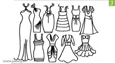 Bộ tranh tô màu cái váy rất đẹp cho bé gái từ 3 đến 7 tuổi