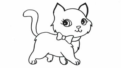 Tô màu hình con mèo dễ thương cho bé