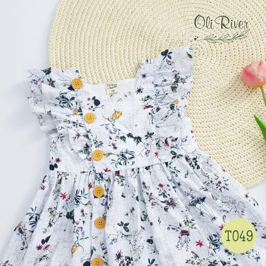 Đầm hoa miền nhiệt đới màu trắng oli river T049-1