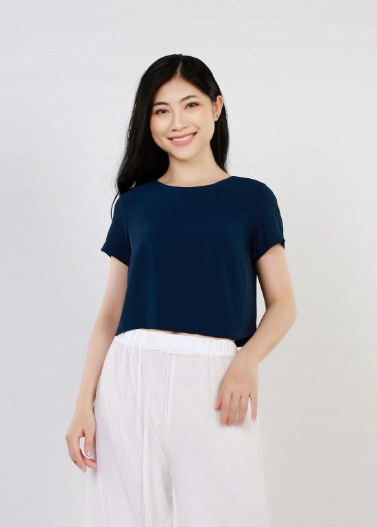 Áo croptop tằm ý xanh navy nữ