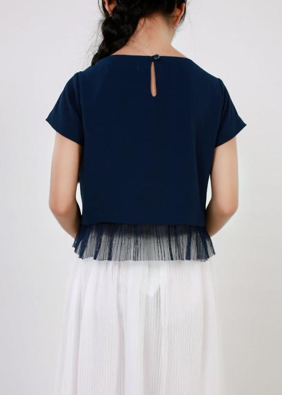 Áo croptop dập lưới xanh navy bé gái