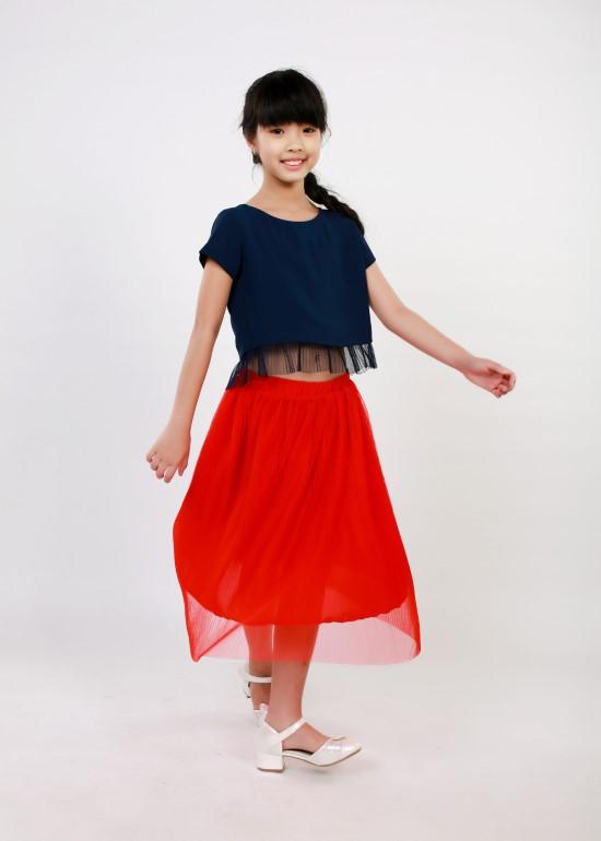 Set thời trang bé gái đi tiệc chân váy và áo croptop