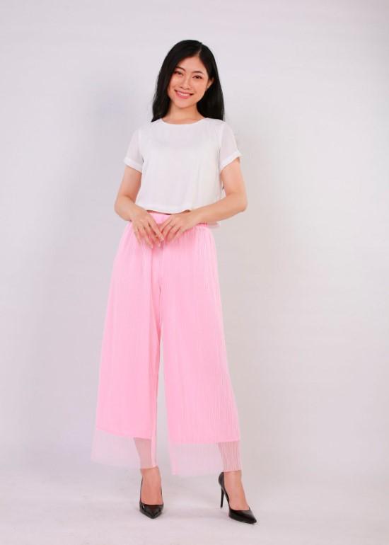 Quần culottes hồng
