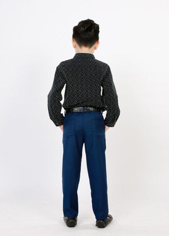 Áo sơmi bé trai tay dài đen chấm trắng