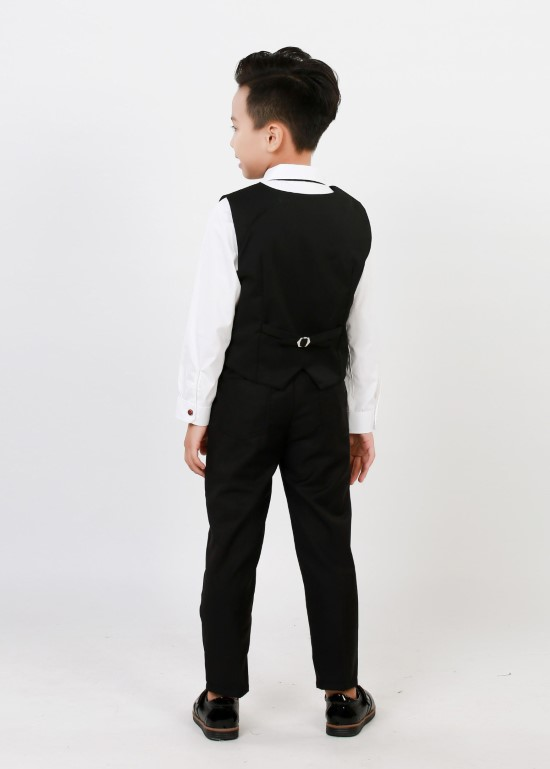 Áo gile cotton tây đen bé trai