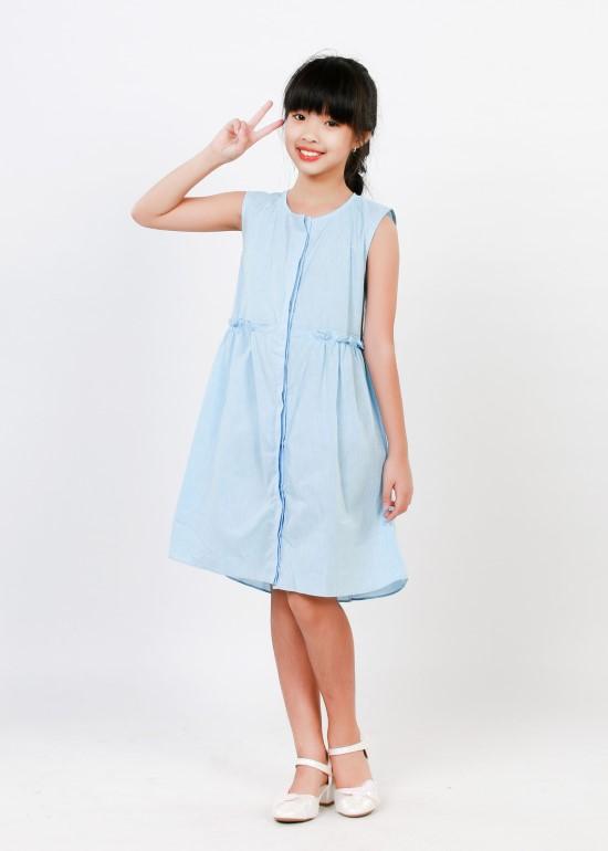 Đầm nẹp dọc linen xanh biển bé gái