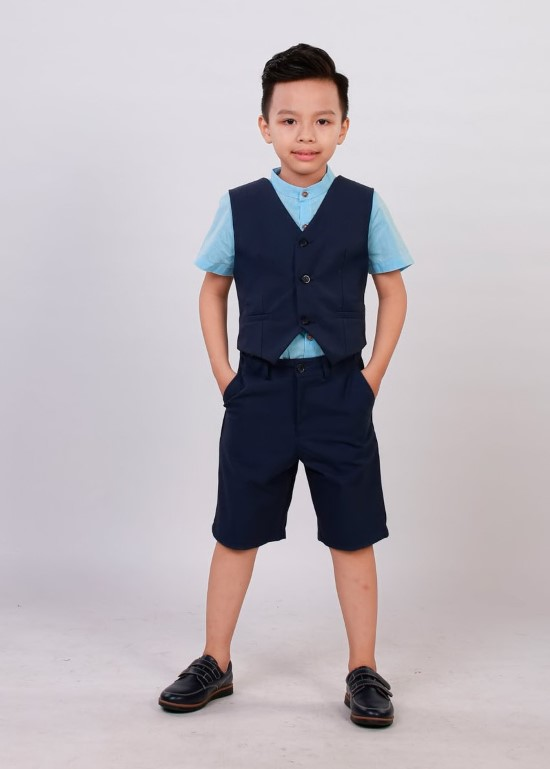 Áo gile xanh navi bé trai