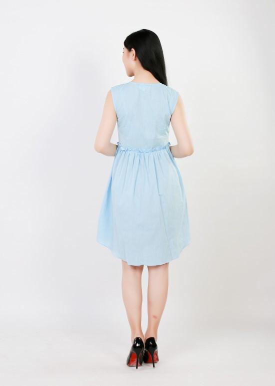 Đầm nẹp dọc linen xanh biển nữ