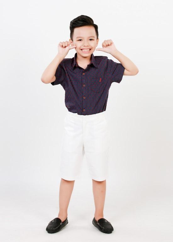 Áo sơmi bé trai tay ngắn xanh đen chấm đỏ