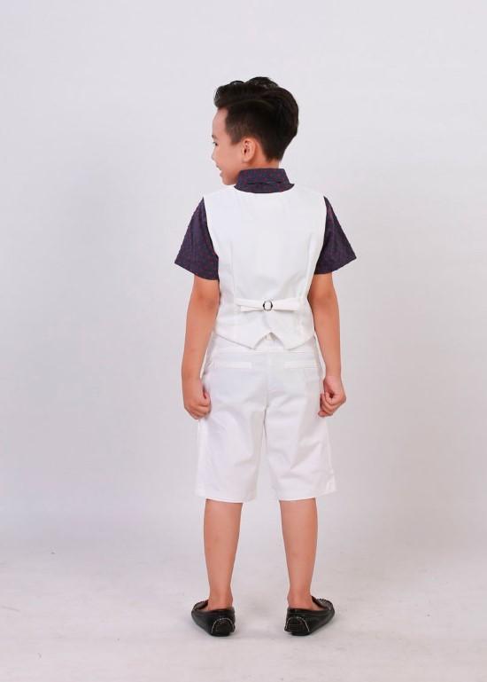 Áo gile cotton trắng kem bé trai