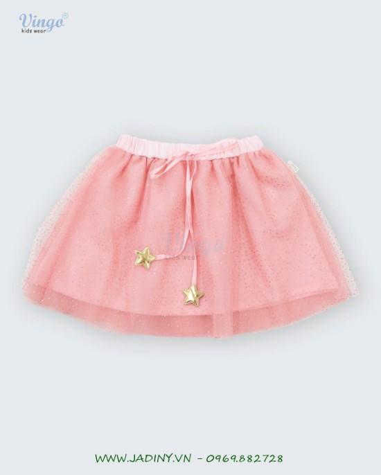 Chân váy lưới kim tuyến hồng Vingo- 20G12