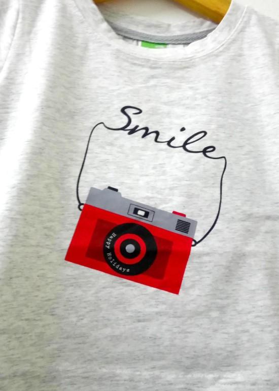 Áo thun cotton xám máy ảnh