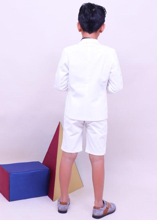Áo vest bé trai cotton trắng kem