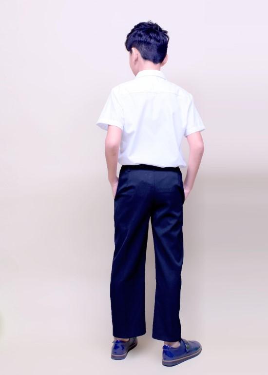 Áo sơ mi học sinh túi bên trắng tím