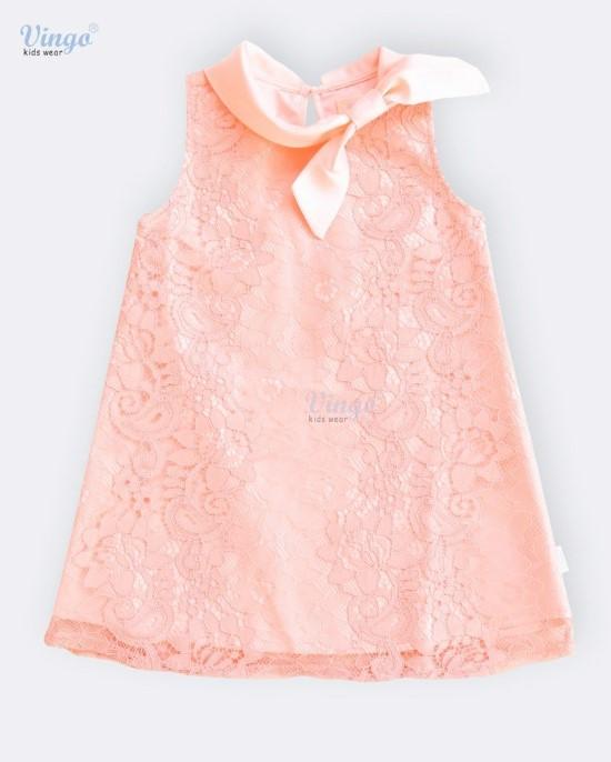 Đầm hồng họa tiết thắt nơ vingo - 19M1