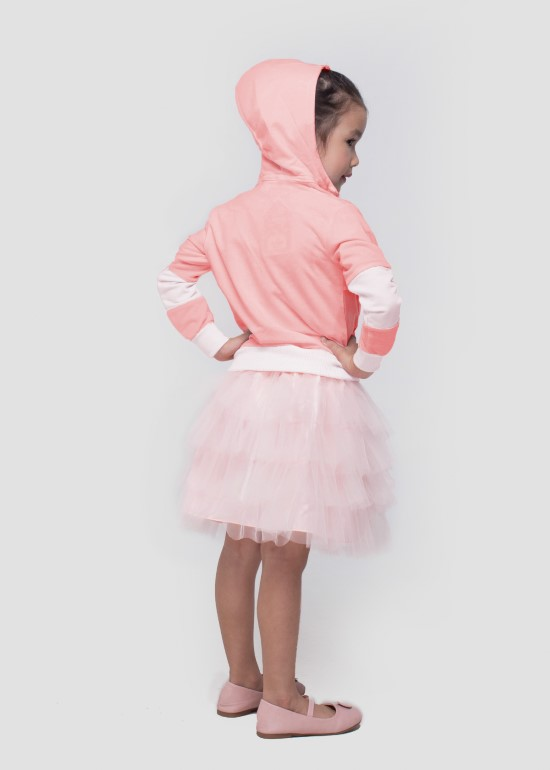 Áo khoác thun có nón phối hồng bé gái