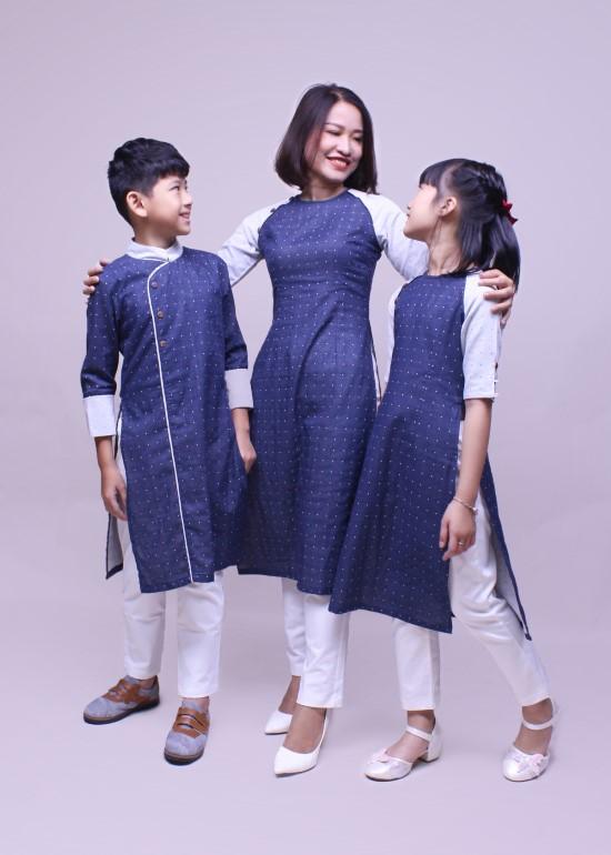 Combo áo dài linen phối xanh đen gia đình