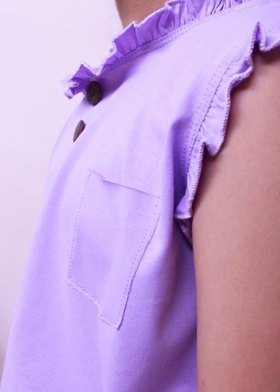 Áo thun bé gái cổ bèo tím cà