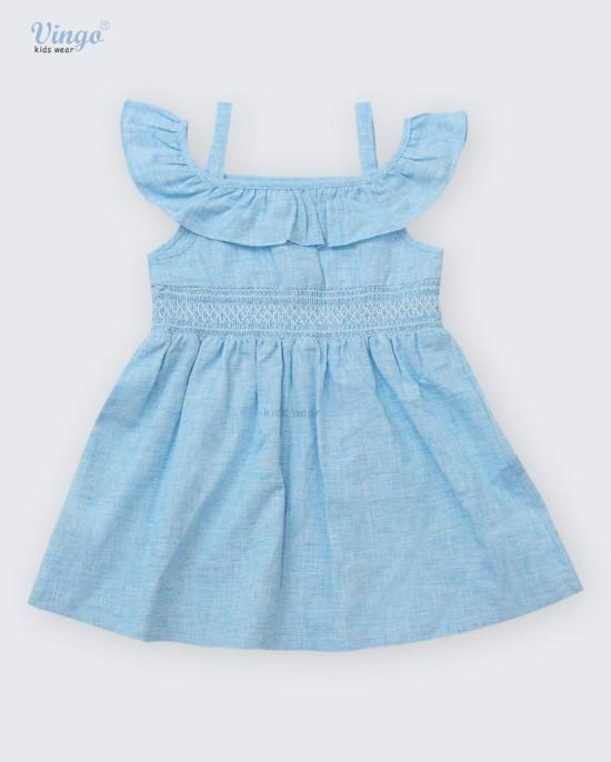 Đầm xanh smocking bèo vai vingo - 20G3