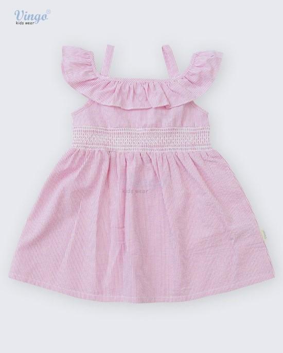 Đầm hồng smocking bèo vai vingo - 20G3