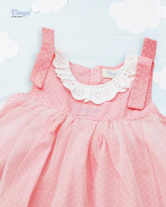Đầm vải hồng bi vingo 20G21