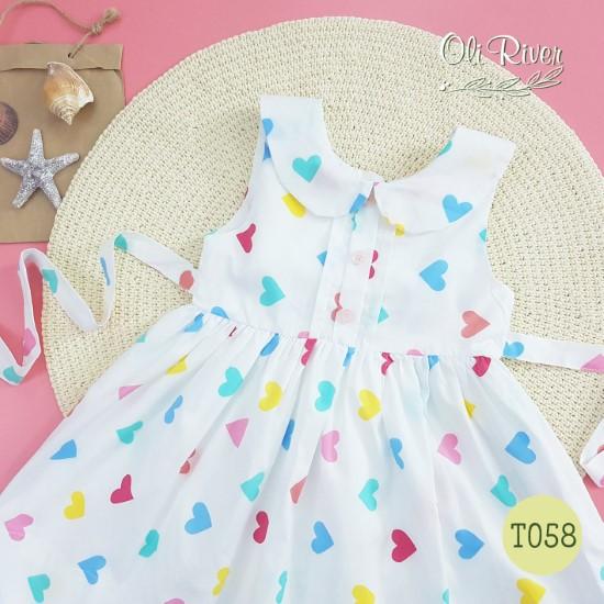 Đầm trắng tim vàng xanh oli river T058-2