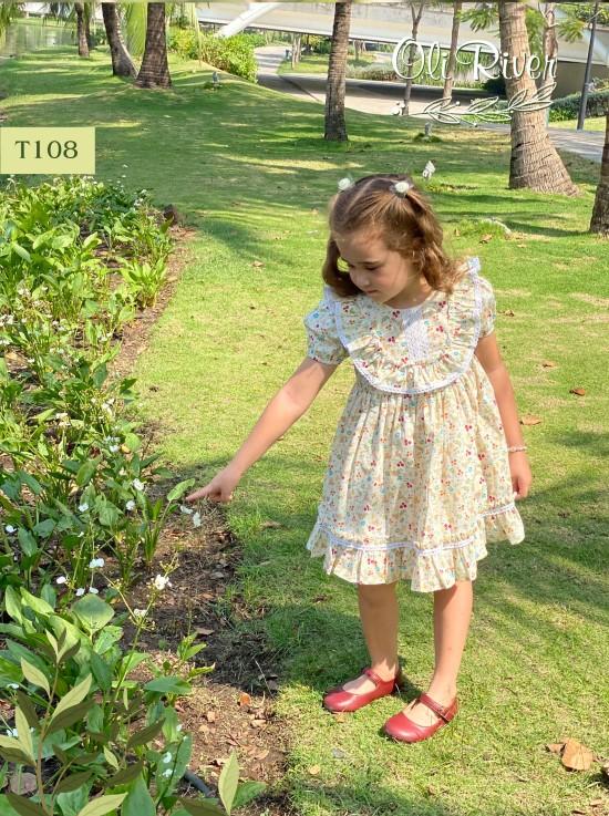 Đầm bee hoa nhí màu kem oli river T108