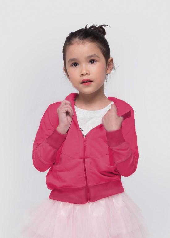 Áo khoác thun có nón hồng bé gái