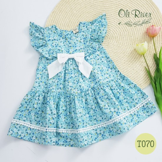 Đầm hoa nhí xanh tây oli river T070-1