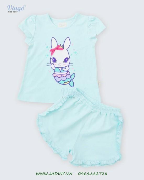 Đồ bộ thun bé gái in thỏ xanh Vingo - 20G4