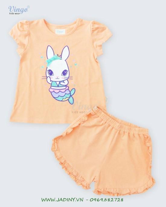 Đồ bộ thun bé gái in thỏ cam sữa Vingo - 20G4