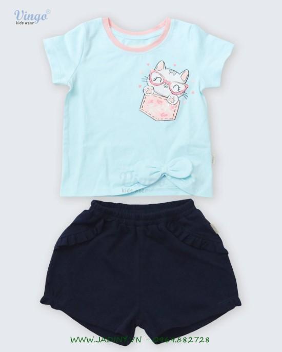 Đồ bộ thun bé gái in mèo túi xanh dương Vingo- 20G6