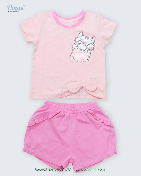 Đồ bộ thun bé gái in mèo túi hồng Vingo - 20G6